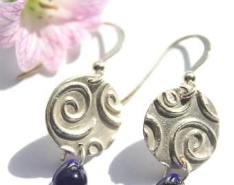 Blue drop earrings, blue earrings, blue glass earrings, silver and blue glass earrings, handmade earrings