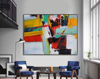 Handmade Extra Large Contemporary Painting, Huge Abstract Canvas Art, Original Artwork by Leo. Hand paint. Green, blue, red, yellow, orange.