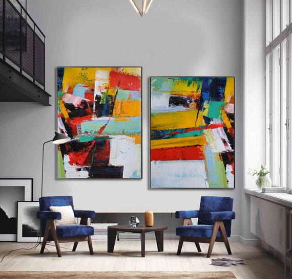 set of 2 large contemporary painting abstract by. Black Bedroom Furniture Sets. Home Design Ideas