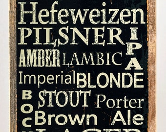 Framed Beer Types Around the World Metal Sign, Casual Den, Bar, 20119F
