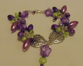 Green & Purple Beaded Leaf Charm Bracelet
