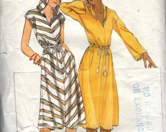 Vintage 1970s Butterick Sewing Pattern 5248- Misses' Dress with Drawstring Waist and Hood  size 8 Bust 31 1/2