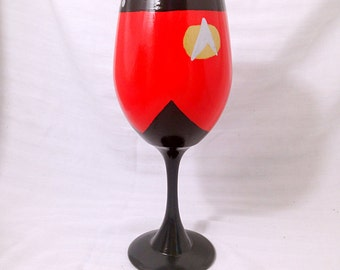Next Generation Inspired Hand Painted Wine Glass.
