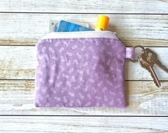 SALE!! Coin Purse Zipper Coin Pouch in Lavender Pineapple Print