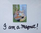 Gray Fox and Fennec Fox Wedding Art Magnet, Robin Hood & Marion as Foxes Art, Fox Magnet Art