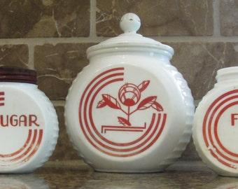 Vintage Vitrock grease, sugar, flour jars-free shipping
