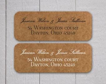Wedding Invitation Return Address Labels, Kraft Wedding Stickers, Return address stickers for invitations (#335)
