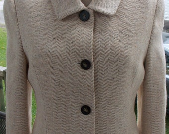 BIG SALE Vintage 60's 2 Piece Suit Leather Trim