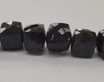 Natural Black Spinel Gemstone Faceted Cube Bead Strand