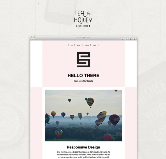 Email newsletter template mailchimp customizable pink for Mailchimp create template from campaign
