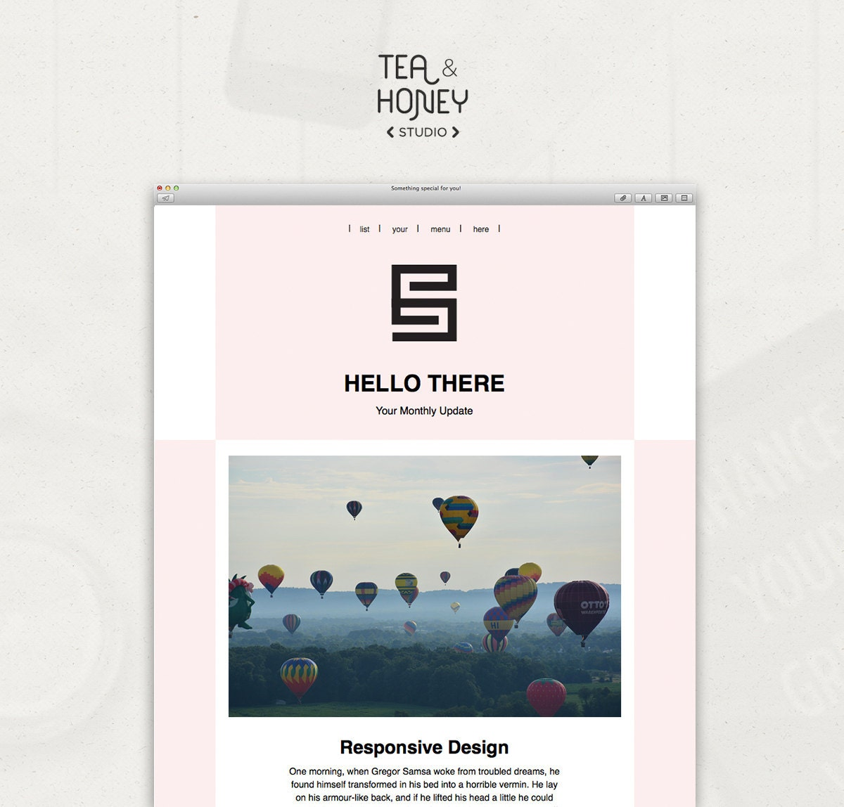 Email newsletter template mailchimp customizable pink for Great mailchimp templates