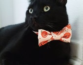 "Cat Bow Tie Collar - Halloween - ""Pumpkin"" - Safety Buckle/Breakaway - Cream/Orange"