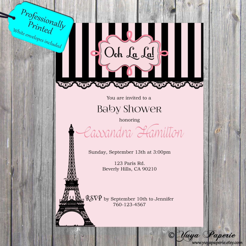 Paris baby shower invitation Girly theme invitation black pink ...