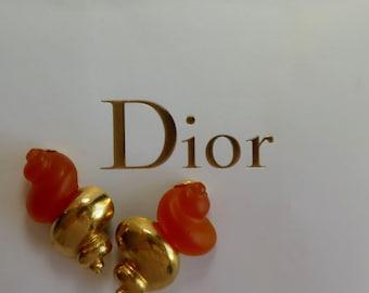 Christian Dior Vintage Parfume Shell Clip-On Earrings