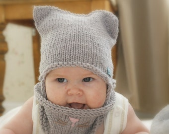 Knitting Pattern For Toddler Hat With Earflaps : KNITTING PATTERN sun brim hat Solei with a bow baby toddler