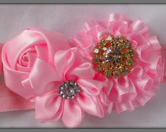 Baby girls headband, Floral hairband, Satin and diamonte headband