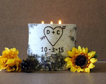 Personalized Birch Candle Holder - Custom Initials & Wedding Date, Anniversary. Engagement, Bride and Groom Gift