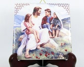 Jesus with Children wall art Catholic print on tile handmade in Italy christian gift idea home decor decorative