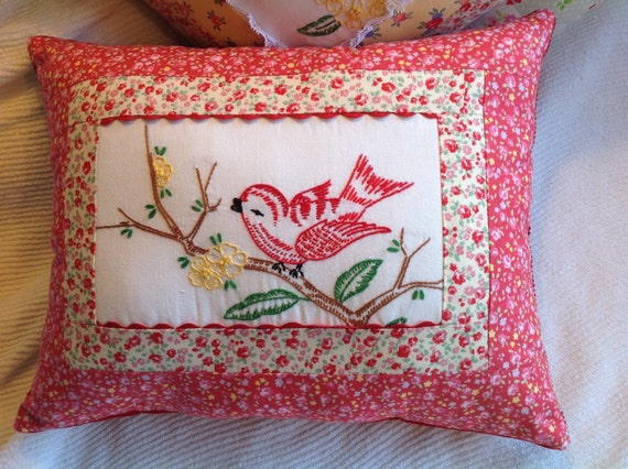 Red Bird Throw Pillow : Red Bird Throw Pillow Cottage Chic Vintage Embroidered Throw
