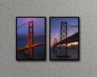 San Francisco Bridge Print Set, Golden Gate Bridge, Bay Bridge, Suspension, Architecture, California - Travel Photography, Wall Art