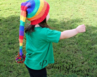 Made To Order: Crochet Elf Hat, Stocking Cap, Photo Prop, Winter Hat, Halloween, Unique Gift, Christmas Gift,