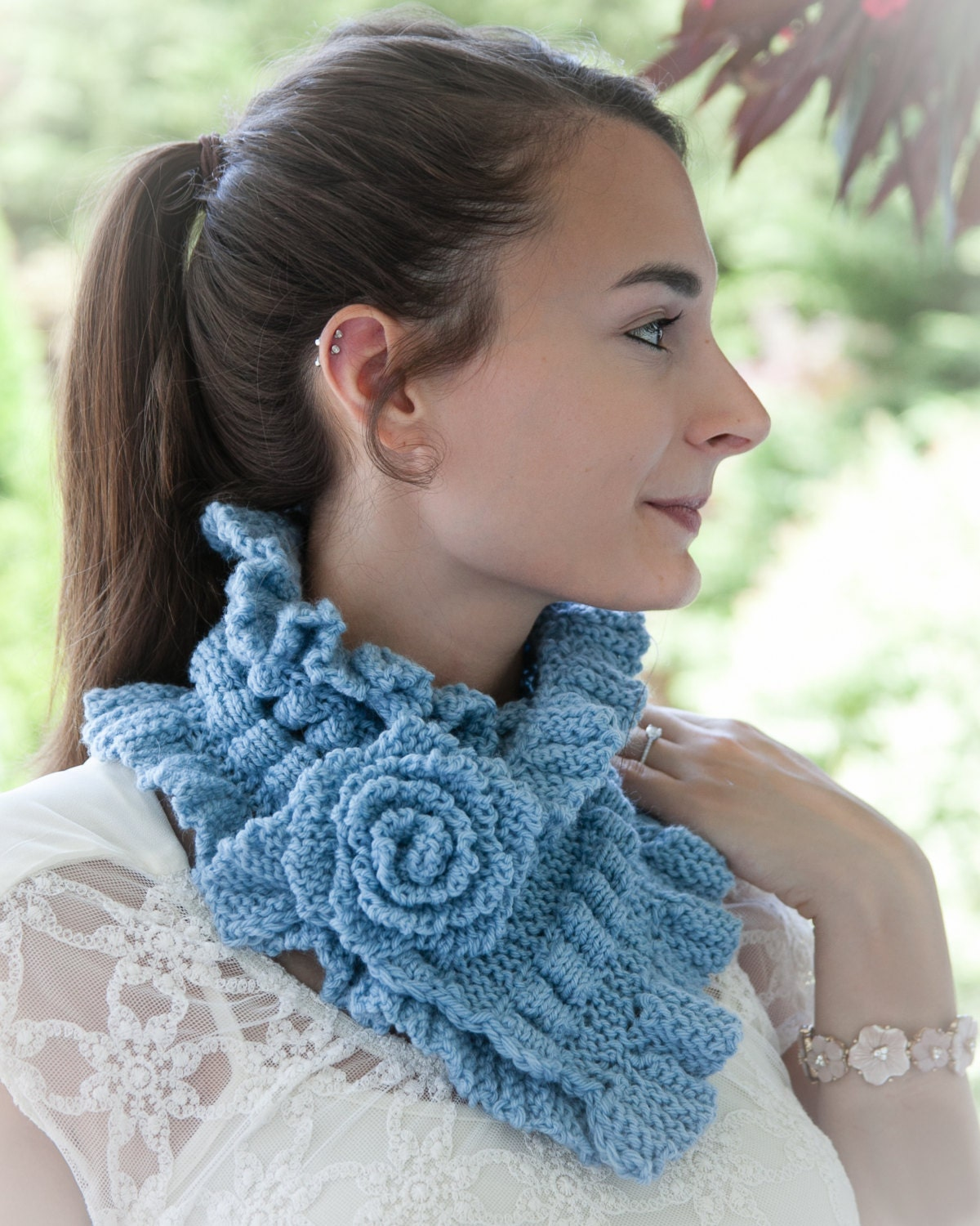 Loom Knit Scarf Cowl PATTERN Victorian Neckwarmer Cowl PATTERN with Ruching, ...