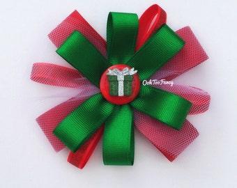 Christmas Hair Bow- Christmas Hair accessories -  Baby Girl Christmas Hair Clip -  Fancy Christmas Hair Bow - Christmas Gift