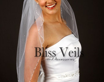 Pearl Beaded Wedding Veil, Ivory Veil with Pearls, Beaded Veil, Waist Length Wedding Veil, Single Tier Veil, Fast Shipping!