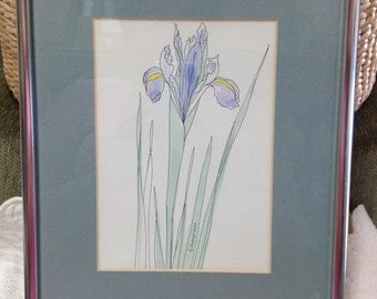 Iris Watercolor Print, Framed Iris Print, Floral Print, Silver Tone Frame, Signed Pagliazzo
