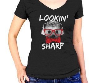 Looking Sharp Funny Hedgehog Shirt - Hipster Hedgehog with Glasses Bow Tie - Hedgehog Lover Gift - (See SIZING CHART in Item Details)