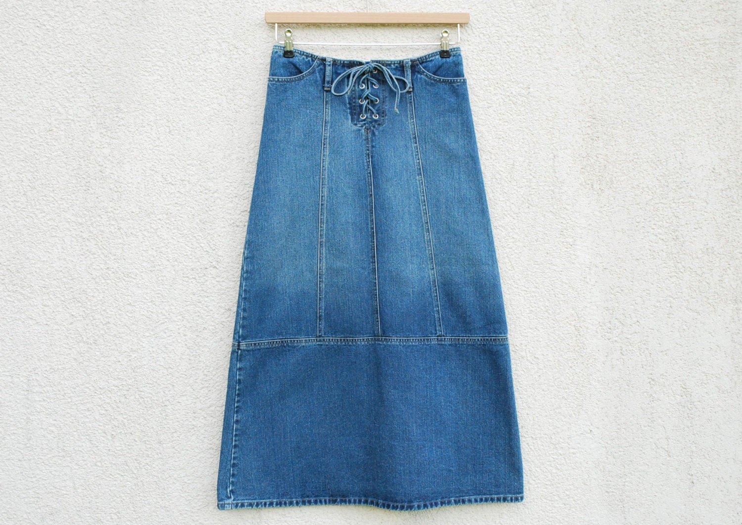blue denim maxi skirt high waisted by vintagesuggestion