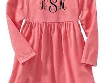 Toddler Long Sleeve Dress with FREE Monogramming Pink