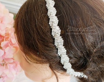 Bridal Headpiece, wedding headpiece, bridal headband, wedding headband with comb, Thin bridal headpiece, Thin bridal headband APRIL
