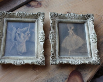 Pair of Vintage Framed Ballerina Lithograph Prints by Sophie