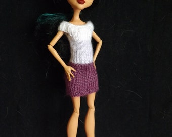 PATTERN - Knitted Monster High Doll Clothes - Monster High Doll Knitting Patterns - Pattern for Hand-knit Block Dress for Monster High Doll