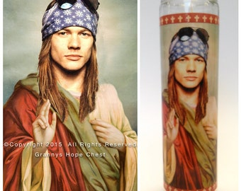 """Axl Rose Prayer Candle. Saint Rose! Great Gift for Guns N' Roses Fans! Premium Handmade 9"""" Soy Candle!"""