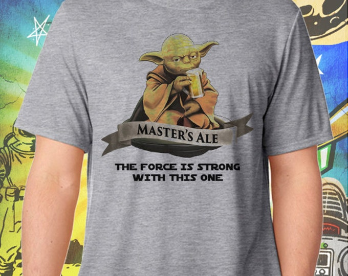 Star Wars Master Yoda Ale Men's Gray T-Shirt Star Wars Beer Tshirt