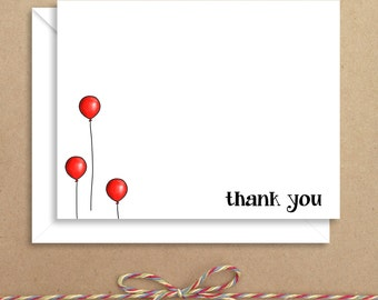Flat Thank You Notes - Balloon Flat Notes - Childrens Thank You Cards- Illustrated Note Cards