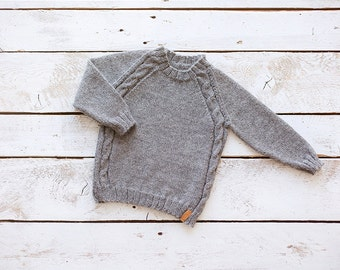 SALE 40% OFF Grey baby sweater / Hand knit alpaca baby pullover / Girl / Boy sweater / Kids sweater / Children sweater/  Toddler sweater