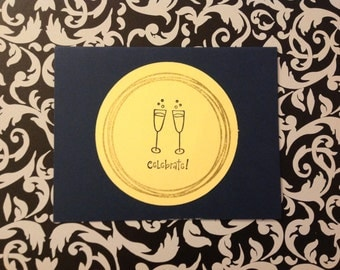 One of a kind Card - Celebrate with Champagne Bubbly - Limited Edition