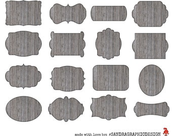 Wood labels clipart, with 16 grey labels in different shapes with wood texture, clipart 300 dpi PNG  files (5061)