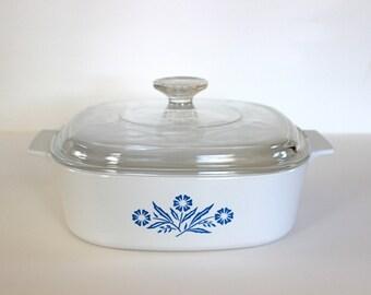 Vintage Corning Ware 2 Liter Casserole Cornflower Blue A-2-B
