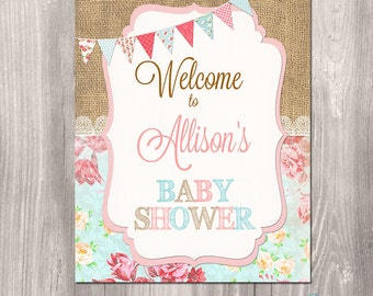 Baby Shower Welcome Sign, Shabby chic welcome sign, printable party sign, burlap welcome sign, floral, It's a girl, printable welcome sign
