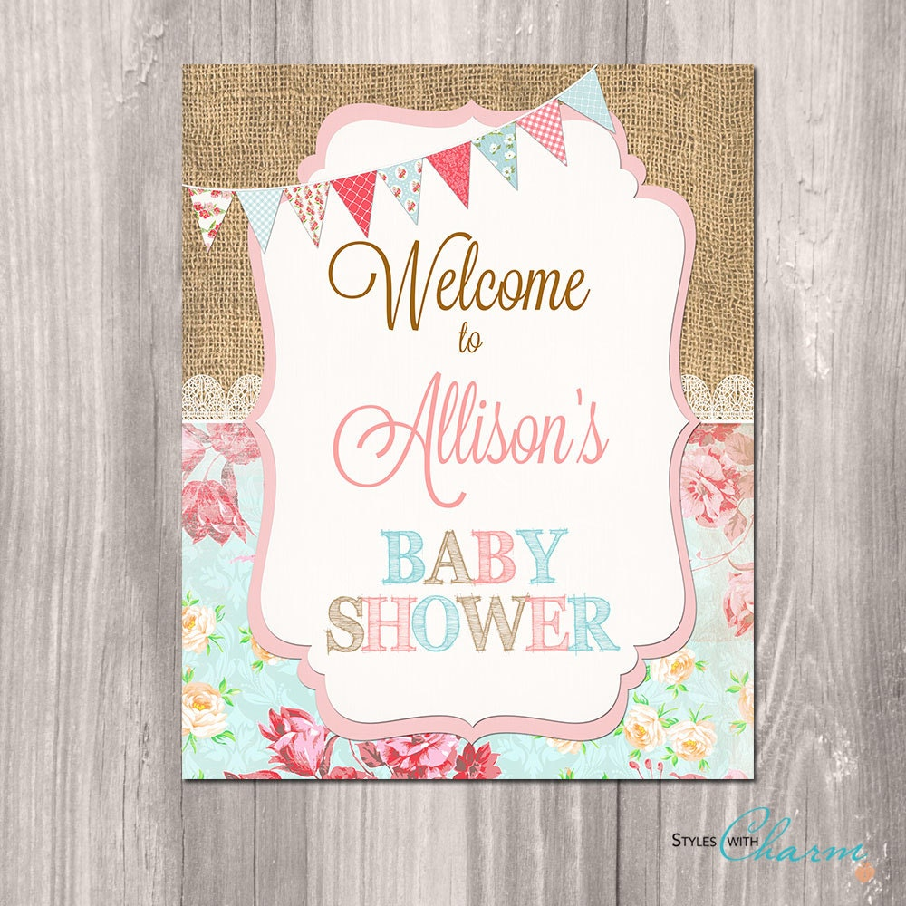 baby shower welcome sign shabby chic welcome sign printable