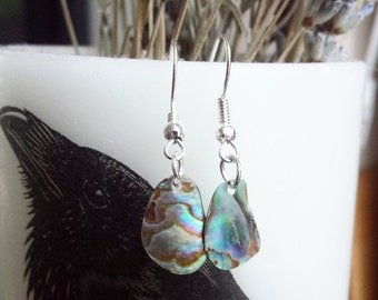 Dainty Paua Shell earrings abalone ocean sea New Zealand Maori beach kiwi