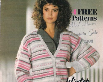 Winter hand knits, Thorobred knitting patterns, vintage knitting patterns, 1980s 80s eighties knitting patterns, retro knitting patterns
