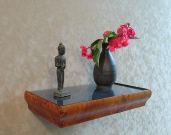Decorative Burled Wood Framed Floating Shelf