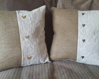 Handmade shabby chic cushion cover. New