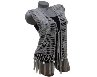 Crochet women vest top, Hand knit hippie summer tank top with fringes, Handmade vest for ladies, Boho festival top for chicks