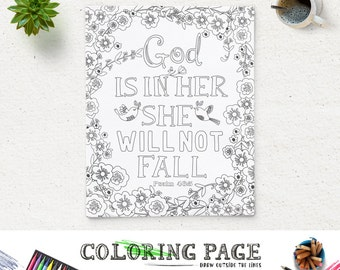 coloring page god is in her printable bible verse psalm 465 instant download printable